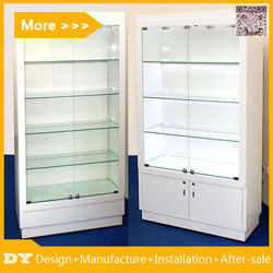 中国 Customized good quality wall glass jewelry display shelves with lighting 工場
