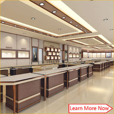 中国 Eye-catching !Wooden Display Jewellery Showroom Furniture Counter Design 工場