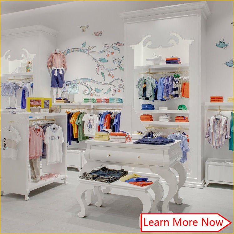 Nice color branded wood material kids clothing store design with lighting サプライヤー