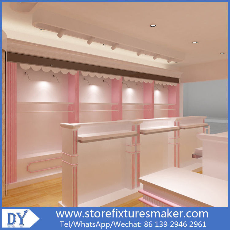 Factory OEM Supplier mdf  wooden  in pink white lacquer Baby Girl Clothing Stores display furnitures サプライヤー
