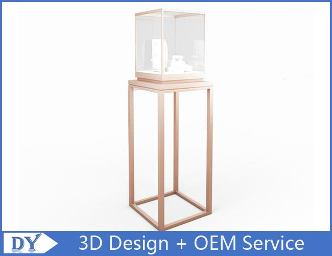 Factory manufacturers  design museum showcase with stainless steel tempered glass led lights